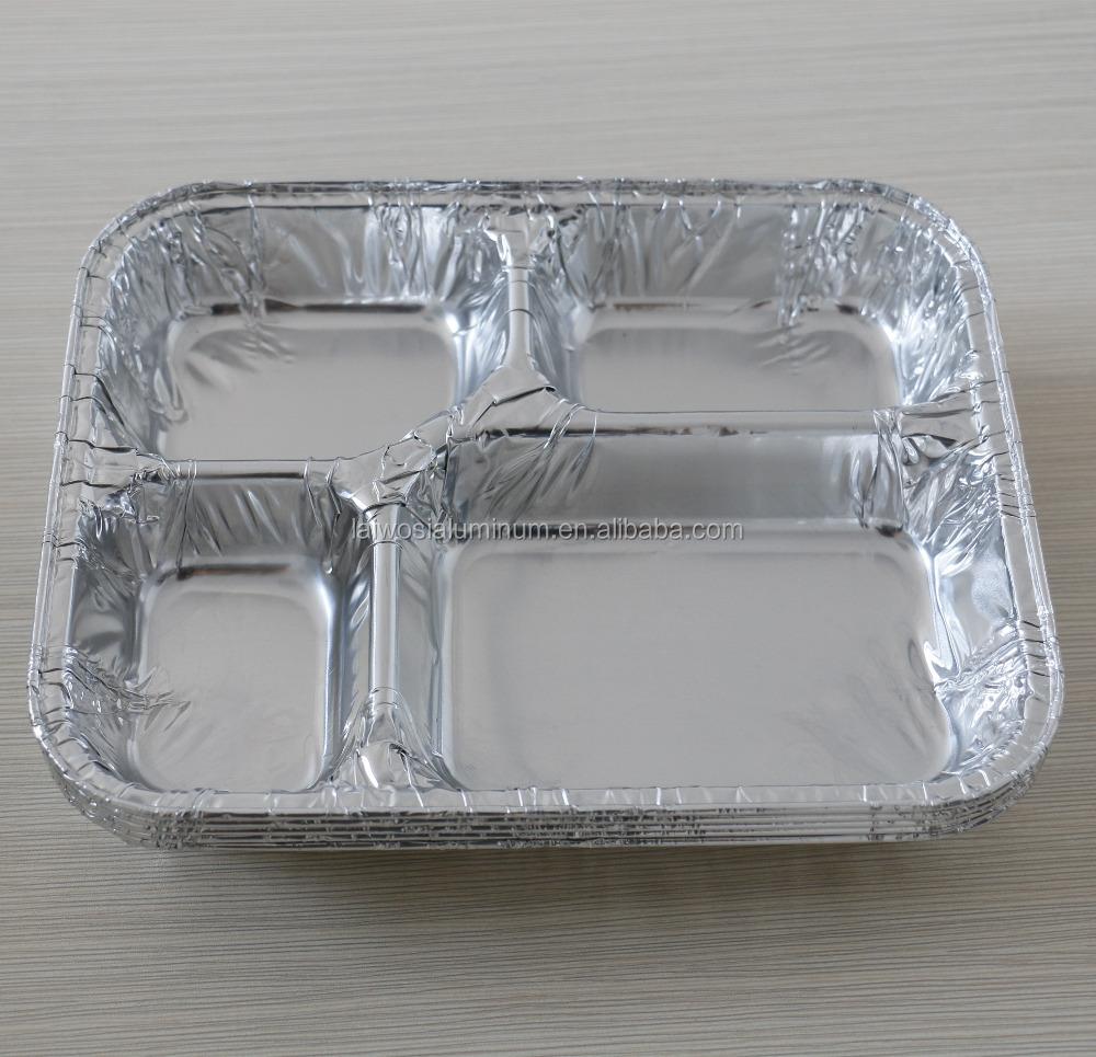 Disposable 4 Compartments Aluminium Foil Container Pan Box