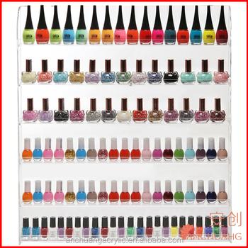 102 Bottles) 6 Shelf Pro Clear Acrylic Nail Polish Rack / Salon Wall Mounted Organizer