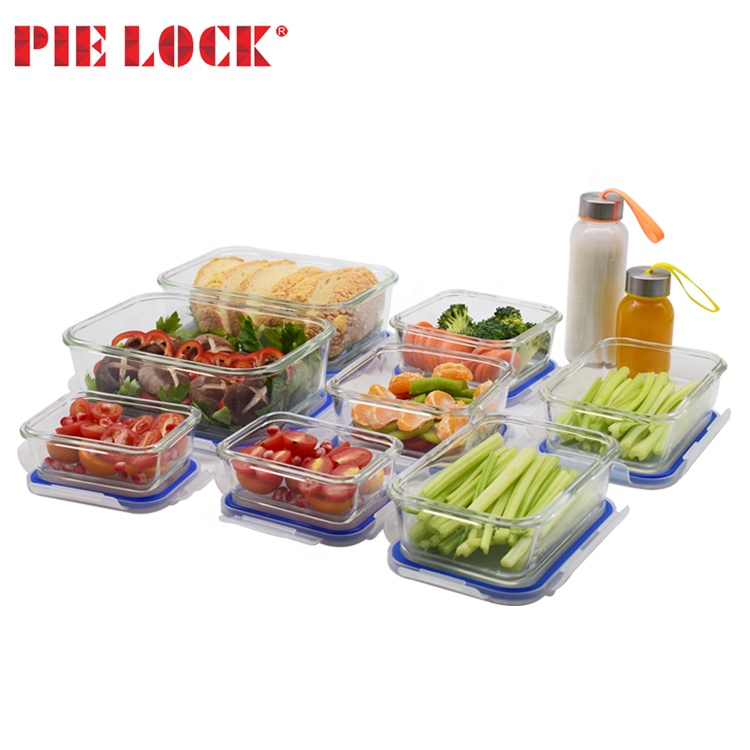 PIE LOCK 21 set glas lunchbox voedsel opslag container/water fles met borstel set