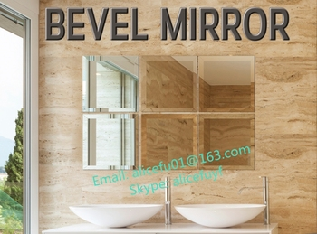 Factory Wholesale Bathroom Mirror Adhesive Beveled Edge Mirror Tiles