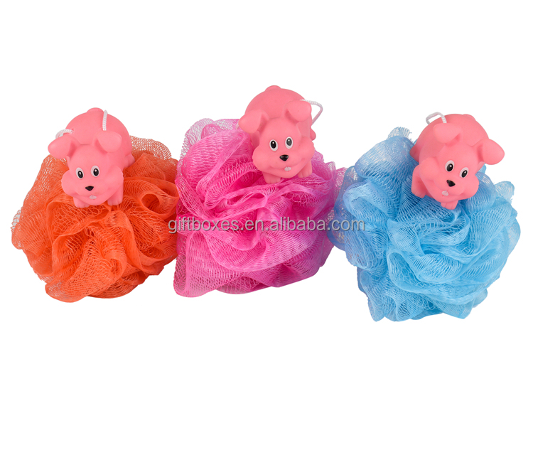 Hot Selling Kids Baby Poef Mesh Bad Spons Dier Loofah