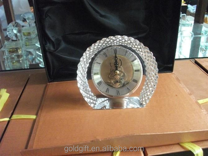 flower round shaped crystal small table clocks