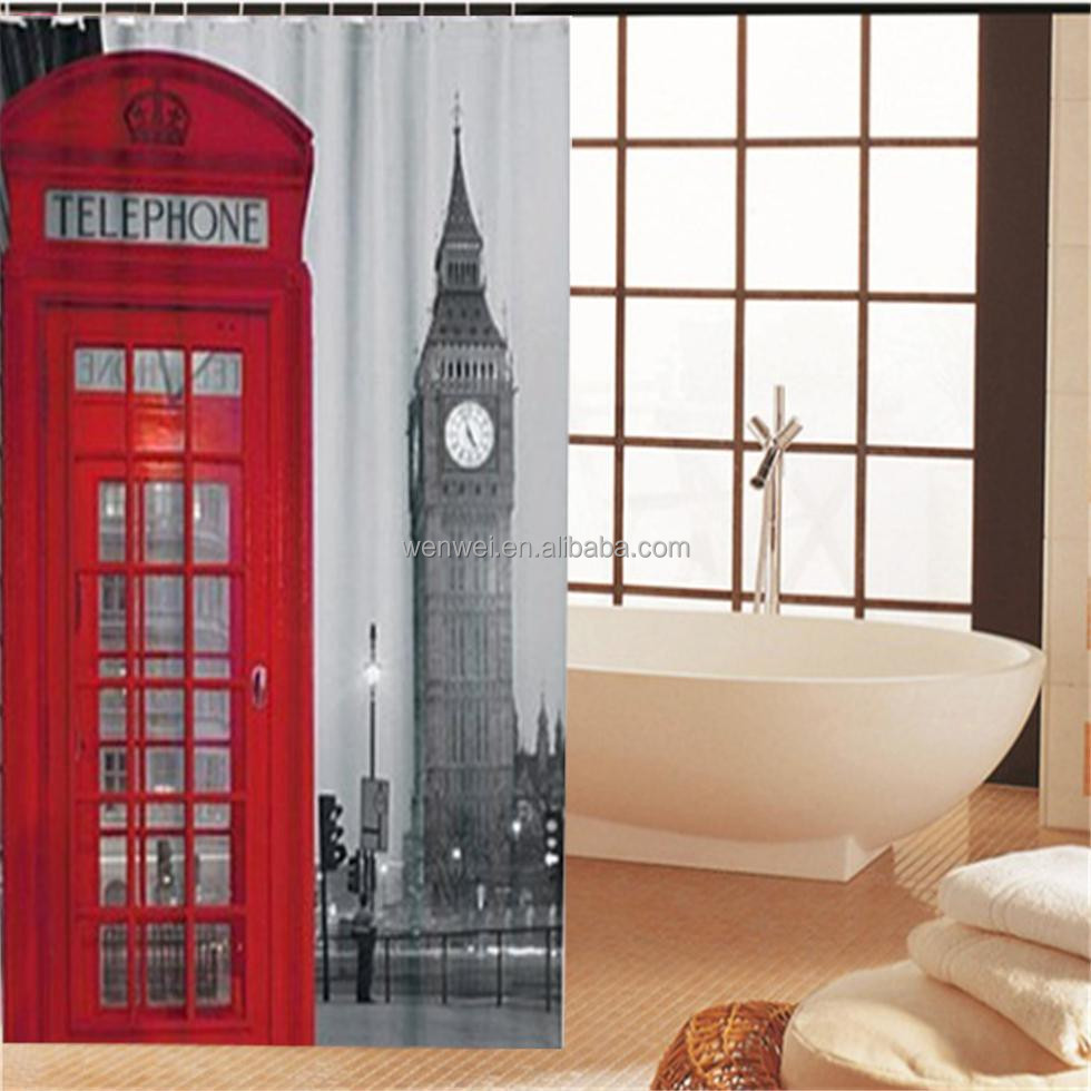 London big Ben Pattern Eiffel Tower thicken waterproof polyester shower curtain