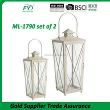 ML-1790 set of 2 Geometric Candle Metal Hurricane Hanging White Lantern