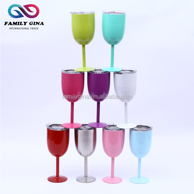 10oz Vacuum Insulated Double Wall Stainless Steel Long Stem Wine Cup