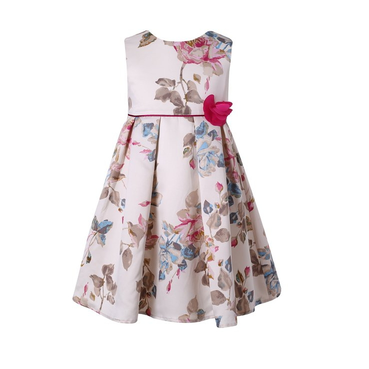 Fatinbaby 2 12y Dresses for Teenage Girls 2016 Summer Sleeveless Retro Sweet Flower Kids Dresses For