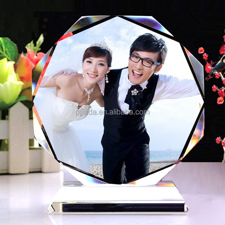 personal glass crystal handmade trophy cube color print photo frame with custom words graduation wedding return souvenir gift