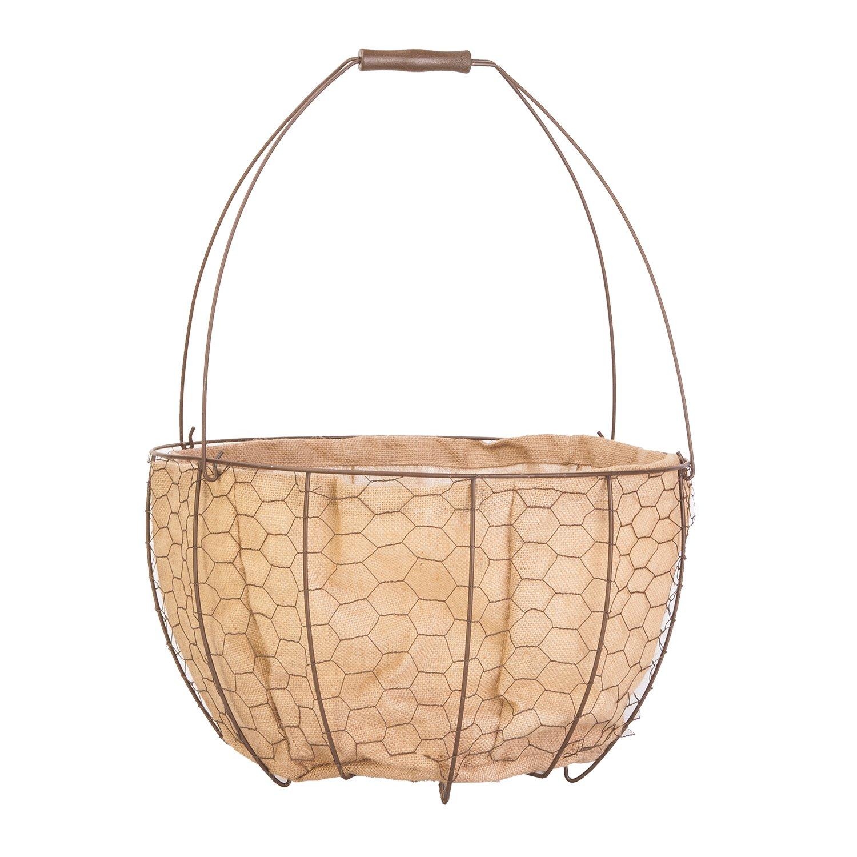 """18"""" Urn Basket Planter with Burlap Liner, Rust"""