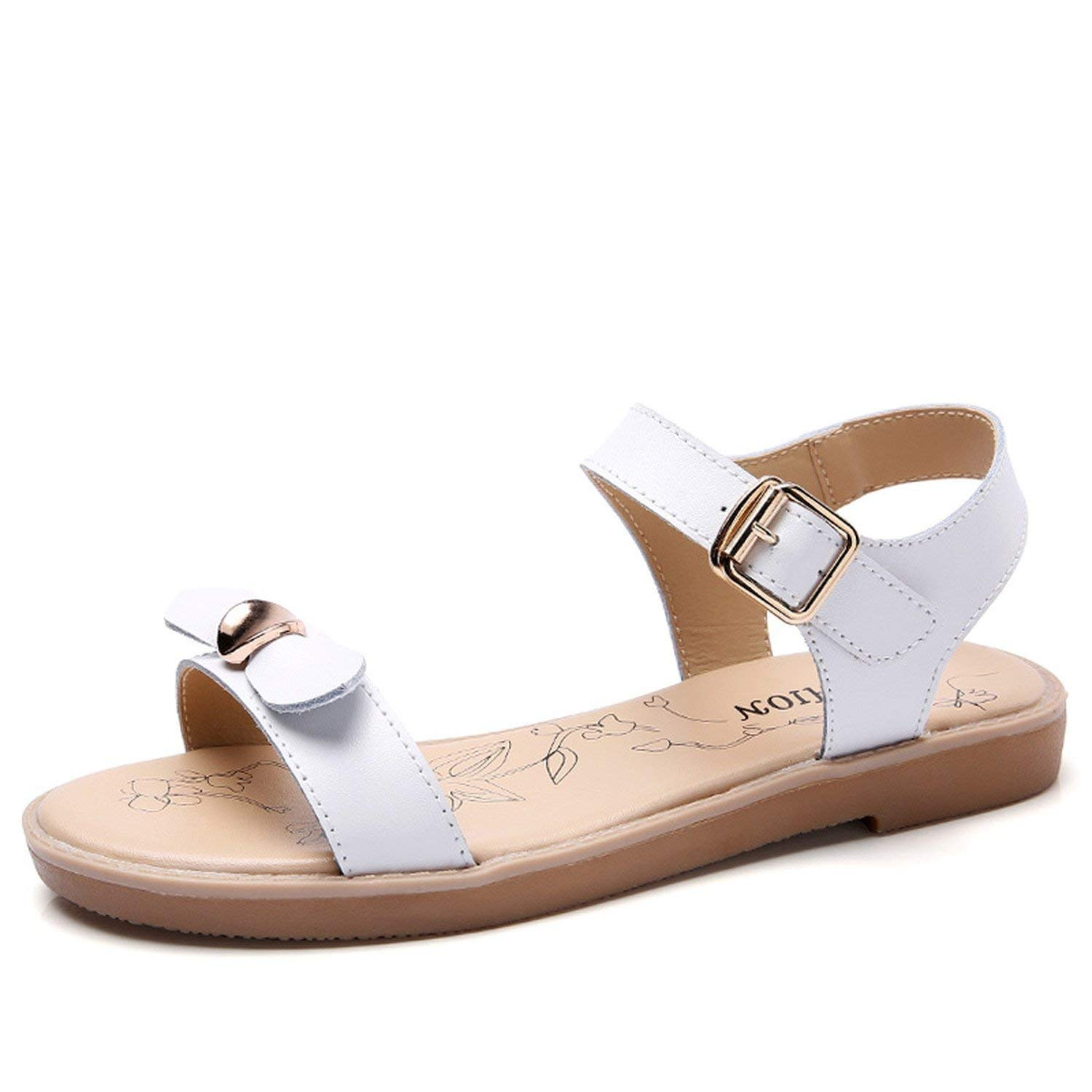 ecff79bde6d8dc Luck Man Open Toe Cowhide Women Flat Sandals Summer Flats Shoes Sweet Bow  Tie Open Toe