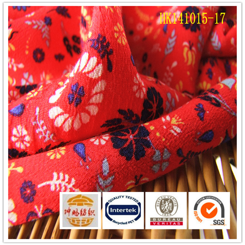 Suzhou textile plain rayon/viscose floral print clothing fabric for women garment