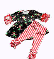 QN-206 2019 Latest designs christmas baby girl ruffle pants outfits with snow man pattern wholesale children boutique clothing