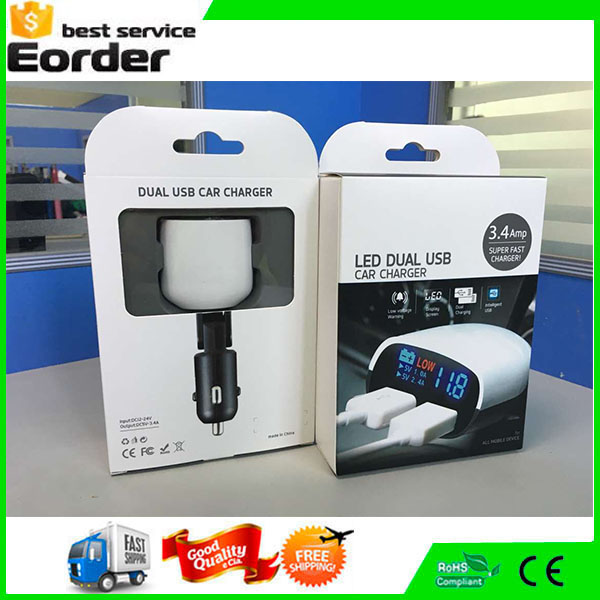 Top5V 3.4A Car Charger Adapter With Dual USB Port LED Voltage Monitor Display For iPhone 5 6 6S Plus Ipad Samsung Tablet Charger