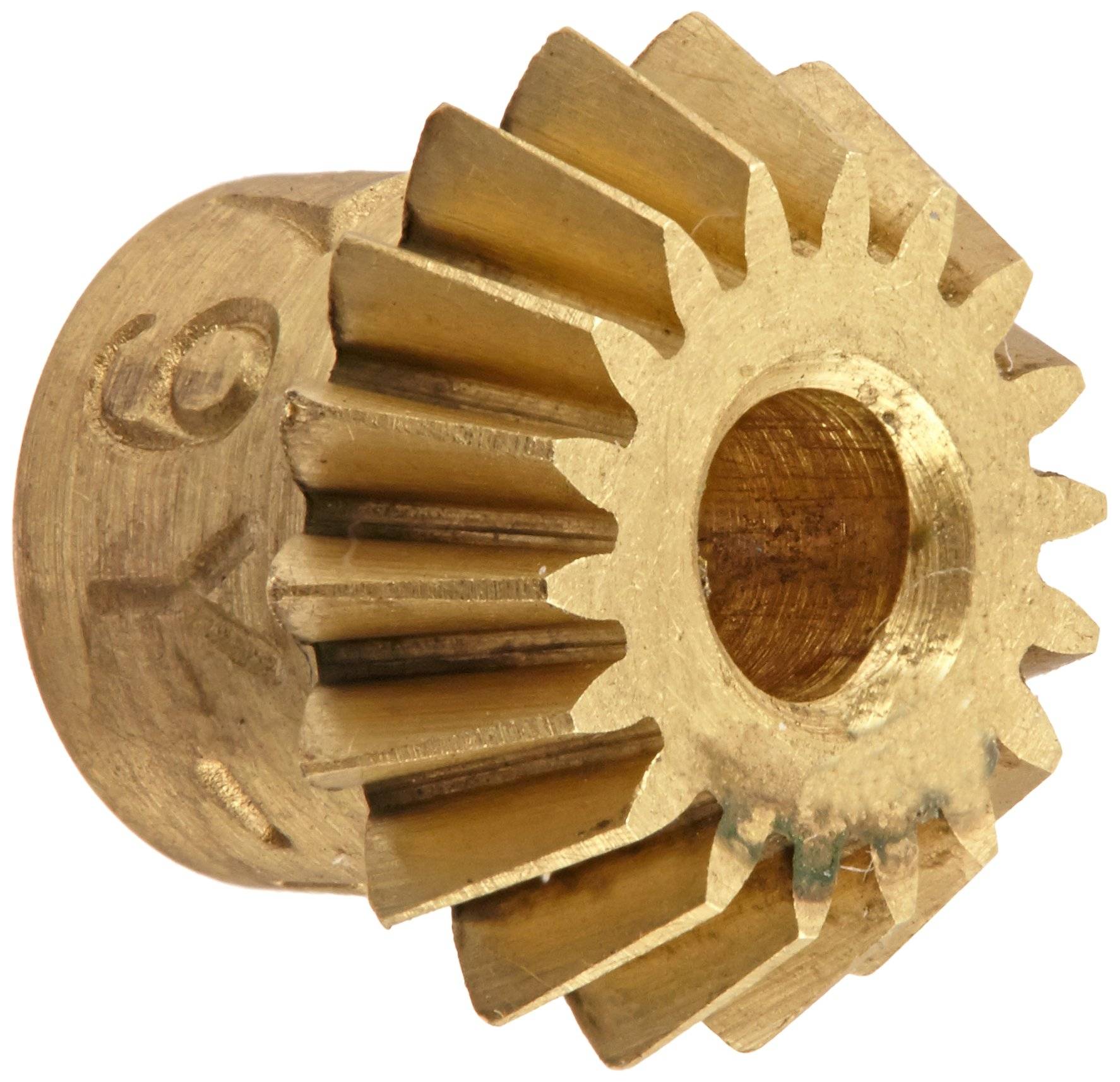 "Boston Gear G479Y-P Bevel Pinion Gear, 2:1 Ratio, 0.125"" Bore, 48 Pitch, 18 Teeth, 20 Degree Pressure Angle, Straight Bevel, Keyway, Brass"