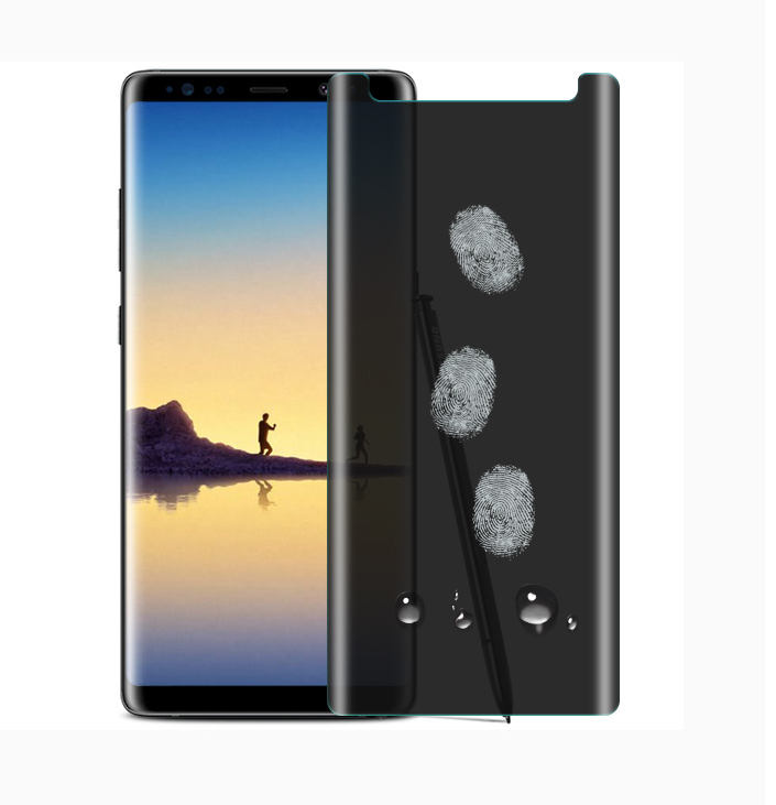 2018 Hot Selling 3D Curved Privacy gehärtetes Glas Displayschutzfolie für Samsung Note 8