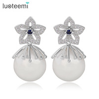 LUOTEEMI Wholesale Top Design Cubic Zircon Jewelry Women Fashion 2015 Shell Pearl Drop Earrings