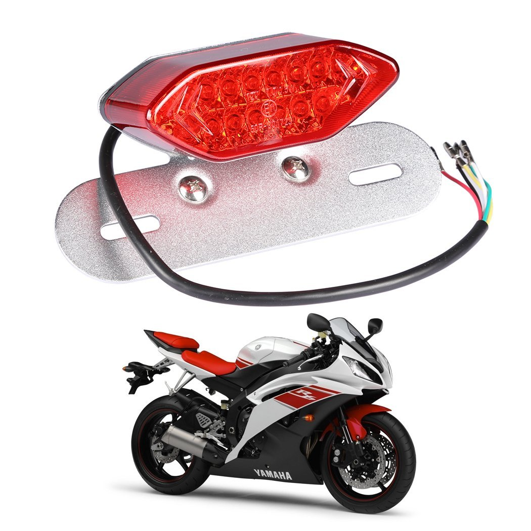 1PCS Universal Flexible Brake Tail Stop Light Led Strip Motorcycle Led Tail Light Turn Signal Brake License Plate Strip Flexible((Silver Red)