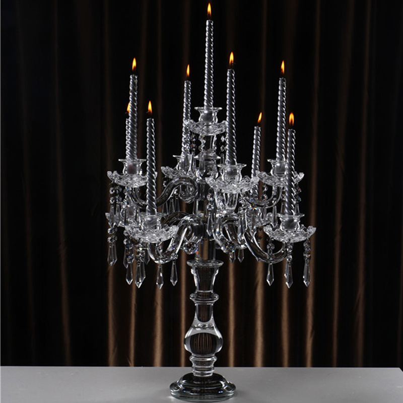 Cheap 5 arms K9 glass crystal candle holders candelabra centerpieces with cylinder hurricanes for wedding centerpieces