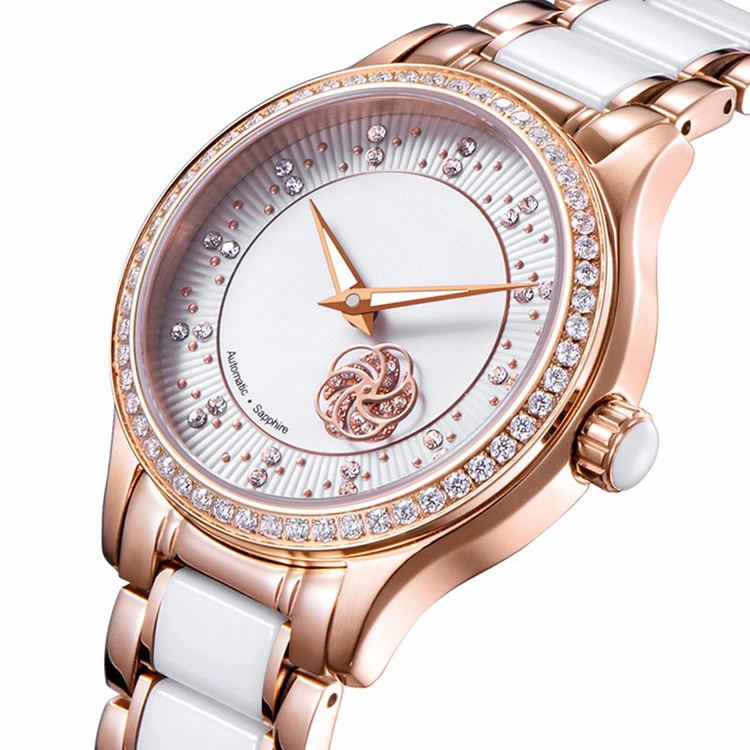 Shenzhen GMS Watch Company Limited 34MM Round <strong>Case</strong> Stainless Steel And <strong>Ceramic</strong> Band Hollow Flower Diamond Women Watch Rose Gold