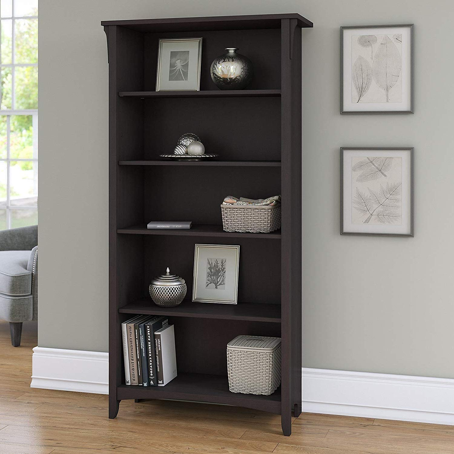 Get Quotations Tall Bookcase Cabinet 5 Shelf Storage Furniture Vertical Book Organizer Home Living Room Engineered Wood Accent