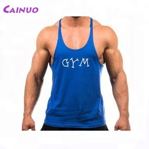 Gym tank top with custom logo stringer singlets