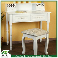 High quality white bedroom vanity set/ wooden dressing table with stool