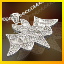Wholesale bird shape shiny polish 925 silver pendant with AAA cz setting paypal acceptable