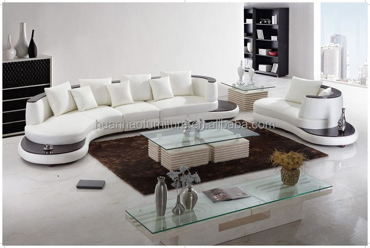 S129 Happy white leather corner sofa/Foshan furniture
