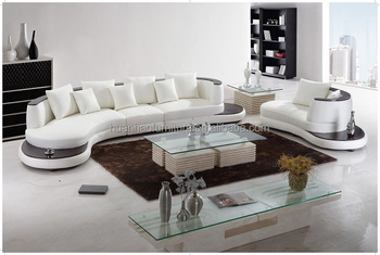 S129 Hy White Leather Corner Sofa Foshan Furniture