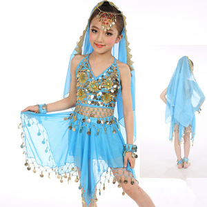 Fashion 5 Piece Children Dance Clothing Belly Dance Costume Tops / Trousers / Veil / Head Chain / Bracelets / Anklet ZH2053