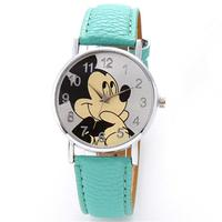 2019 New Arrival Lovely Mickey Mouse Cartoon Leather Band Quartz Twist Watch for Kids