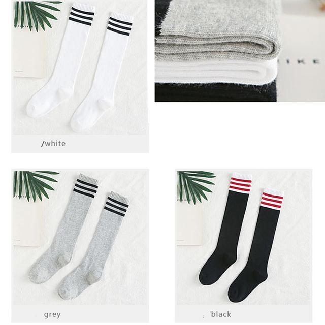 9ebb315c988 2017 kids socks cotton girls knee high socks school baby toddler long  stripe socks for girls