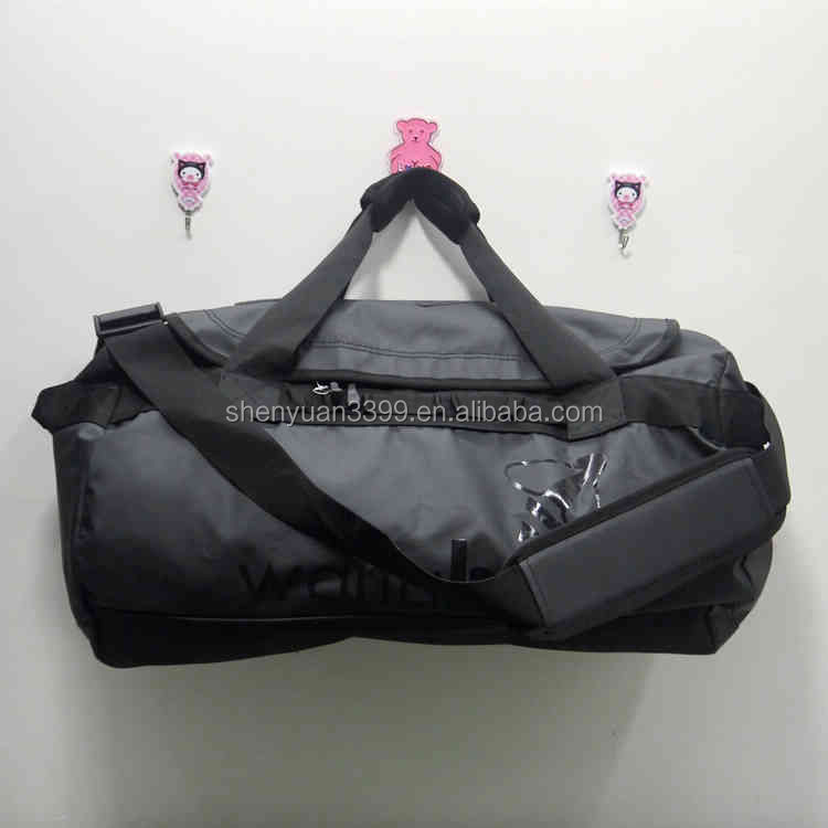 BLACK ROLLING WHEELED DUFFLE BAG CARRY ON LUGGAGE SUITCASE