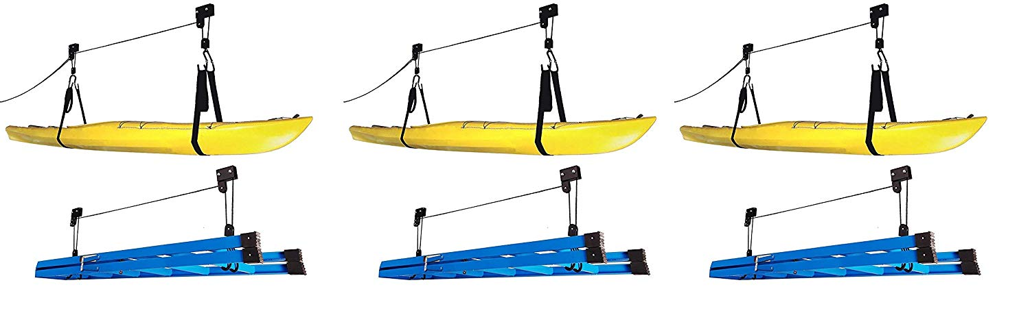 RAD Sportz Kayak Hoist Quality Garage Storage Canoe Lift with 125 lb Capacity Even Works as Ladder Lift Premium Quality Pulley System
