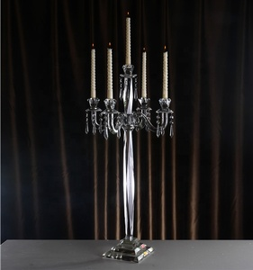 80cm high wholesale wedding centerpiece transparent crystal candelabra 5 arms