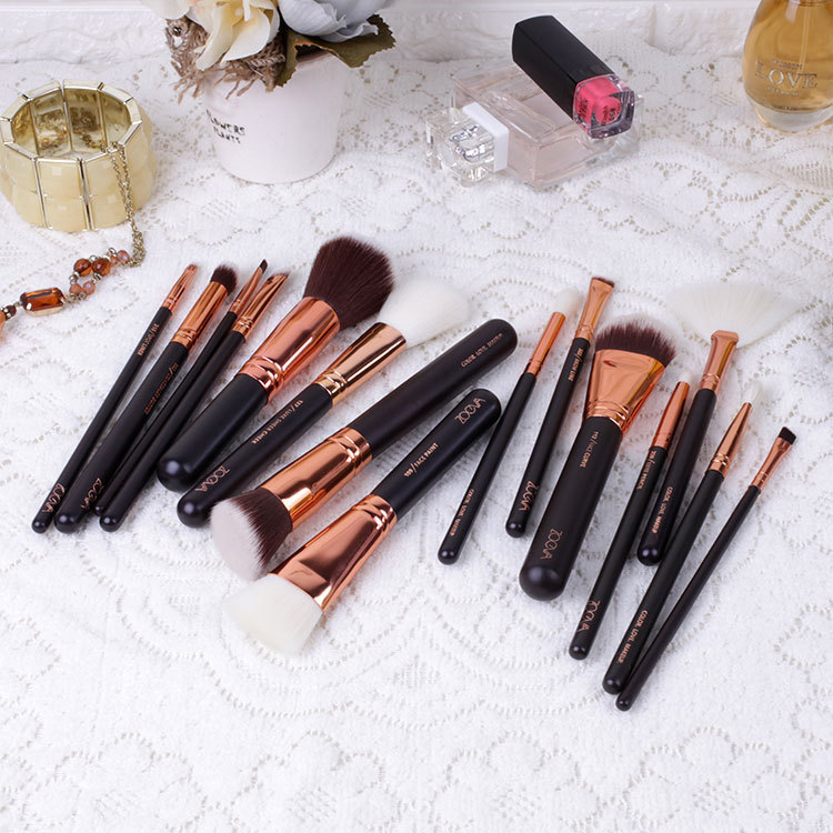 Personalized Zoeva 15pcs makeup brush set rose golden cosmetic brush set
