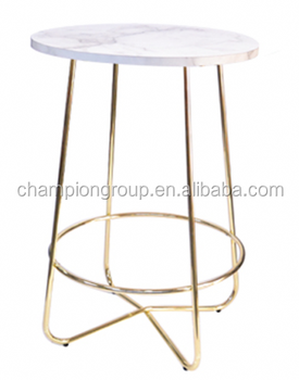 Marble Top Plating Gold Copper Bar Table WR 3307