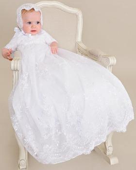 Heirloom Taufe Kleid Baby Mädchen Lange Polyester Ellenbogen Glorious Bestickte Netting Taufkleider Buy Jungen Taufkleidspitze Taufkleidperlen