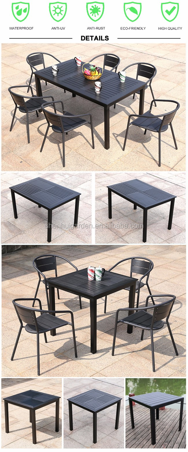Outdoor Garden Restaurant Furniture Retro Wooden Square Coffee Dining Table And 6 Chair Set