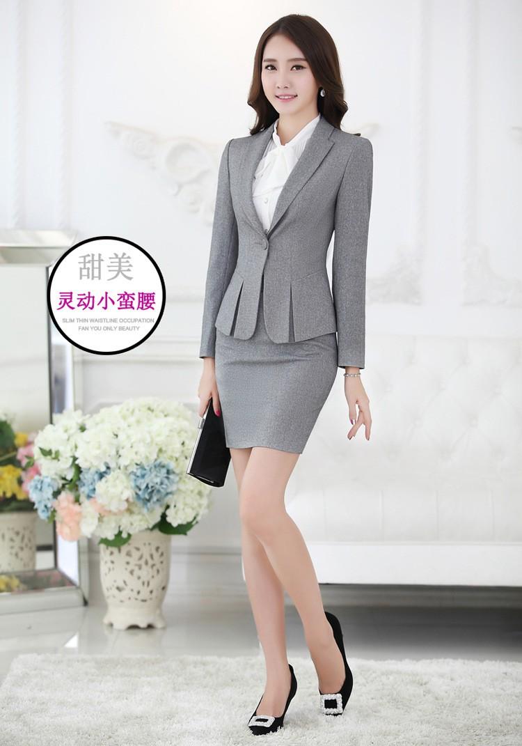 da52a10f3 Wholesale-Uniform Design Red Black Grey Formal Business Suits For Women  Office Work Woman Skirt Suits Ladies Blazer Set With Skirt 3XL 4XL