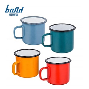 Enamel camping metal coffee mug custom print bulk wholesale sublimation blank custom enamel mug