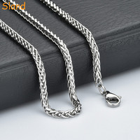 customized high polish 3MM/4MM/5MM/6MM Mens Chain Boys Silver Stainless Steel Wheat Chain Link Necklace