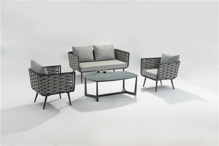 In stock all weather rope weaved outdoor deck sofa garden furniture