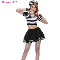 Halloween Carnival Sexy Costume Prisoner Costumes Zippered Dress Stripes Clothes Set For Women