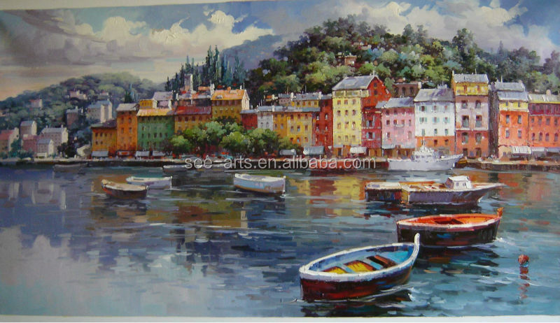 Modern Canvas Seaside Painting Of Beautiful Harbor Boat