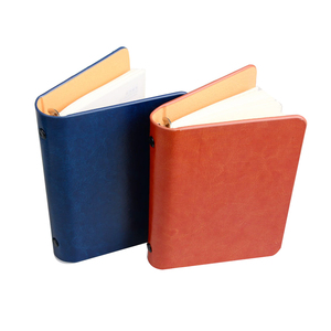 Loose Leaf Blank Ocver Pocket Spiral Ring Binder a5 Mini Thin Leather Notebook