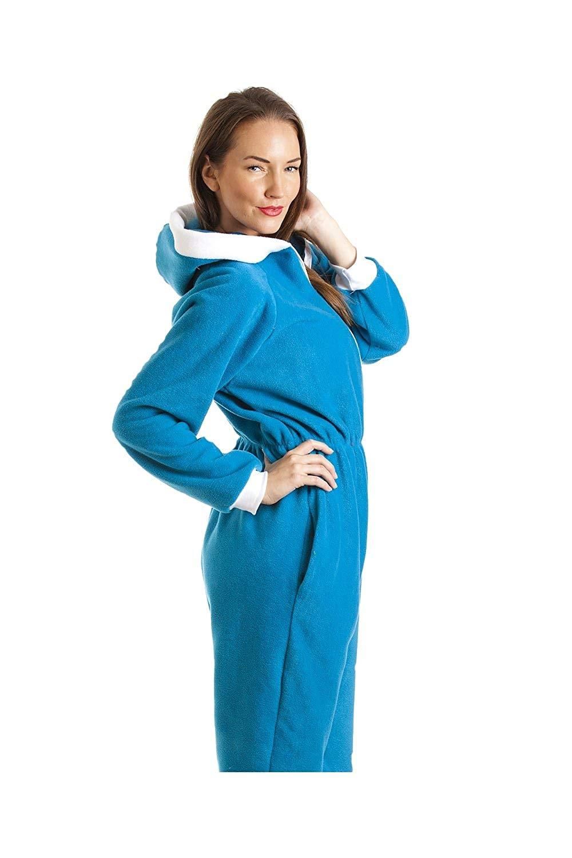 67de00f2b4 Camille Womens Ladies All In One Blue Smurf Hooded Fleece Onesie Pajama