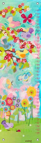 Oopsy Daisy Cherry Blossom Birdies by Winborg Sisters Growth Charts, 12 by 42-Inch