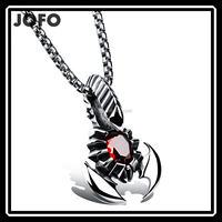 Hip Hop Jewelry for Men Silver/Gold Stainless Steel Scorpion Red Stone Pendant Necklace