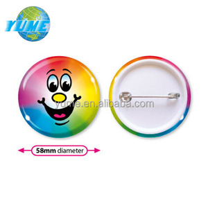 Custom Printed Colorful Smiley Face 58mm Round Tin Button Badges with Metal Pin - New Products China