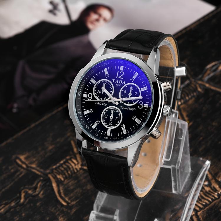 9e0931d7ab3 Vendas quentes Óculos Azuis Cara Pulseira De Couro Relógios de Quartzo  Homens Vendas Quentes TADA Relógios
